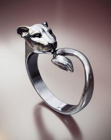 кольцо женское,львица