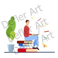 Flat illustration-студент на удаленке