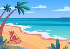 Векторная иллюстрация пляжа