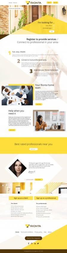 RIONTA - дизайн главной страницы сайта. Landing