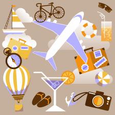 иллюстрация в стиле флет на тему путешествия