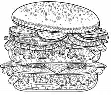 Дудлраскраска антистресс. Гамбургер.