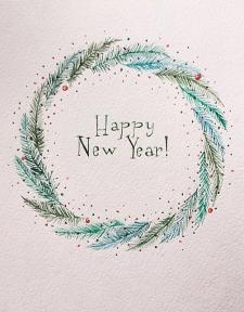 Новогодняя иллюстрация акварелью