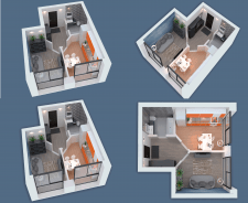3D visualization of a one-room apartment NEW-4