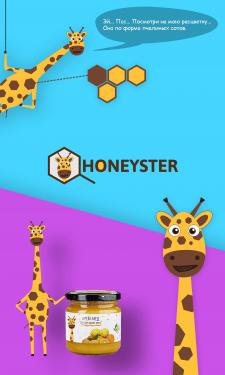 Персонаж для бренда honeyster +логотип