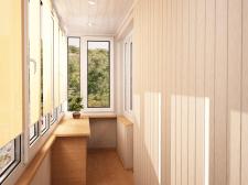 Облицовка балкона материалами, интерьер