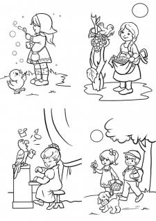 Раскраска. Дружба детей и животных