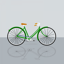 beautiful bike with green frame on a gray backgrou