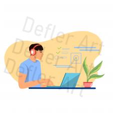 Flat иллюстрация - студент за компьютером