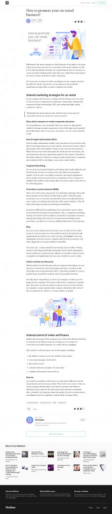 Текст на Medium (автопрокатный бизнес)