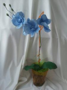 Орхидея Фаленопсис из фома на 1 ветку голубая