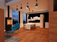 визуализация интерьера квартиры (вечер)