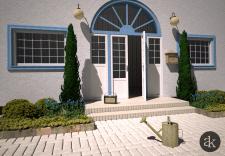 Визуализация озеленения входной зоны у дома