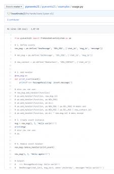 Модуль создания и обработки событий для Python3