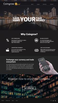Макет homepage для сайта Coingrow