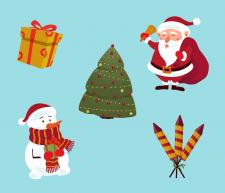 Набор новогодних стикеров в Adobe Illustrator