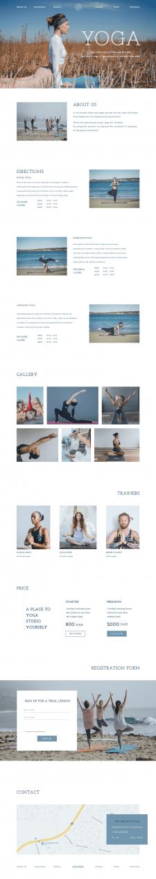 Дизайн веб-сайта для студии йоги с элементами Flat