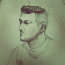 Зарисовка с натуры, карандаш, тон.бумага.