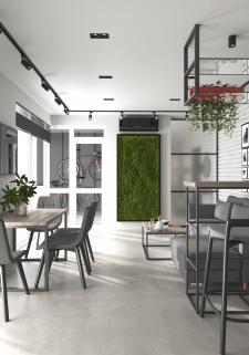 Визуализация кухни студии из дизайн проекта