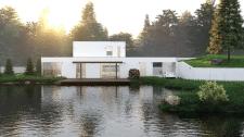 3d Визуализация дома у озера.