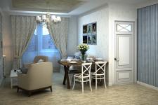 Гостиная однокомнатной квартиры в стиле прованс