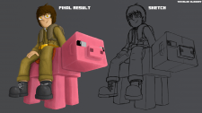 2Д стикер с персонажем в майнкрафте