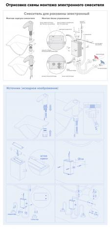 Отрисовка схемы смесителя в векторном редакторе