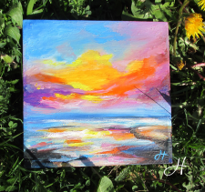 Картина маслом «Закат солнца»