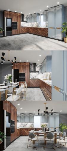 Дизайн кухни. Вариант цветового решения фасадов 3