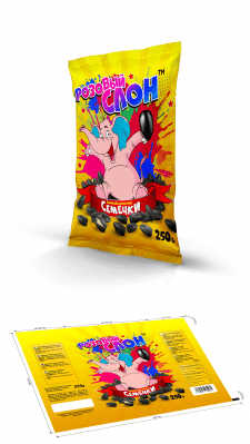 """Дизайн упаковки для семечек """"Розовый слон"""