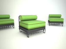 3Д стулья зеленые квадратные восточный стиль