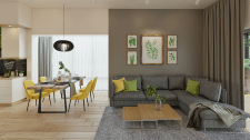 Дизайн кухни - гостиной в эко-стиле