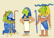 Боги Древнего Египта в мультяшном стиле