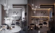 Дизайн и визуализация кухни с барной стойкой