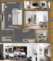 Схема дизайна гостиной-спальни и входной зоны