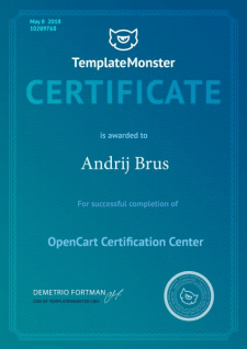 Сертификат от TemplateMonster и OpenCart
