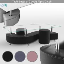 Table basse et 2 poufs Alpha 2 noir
