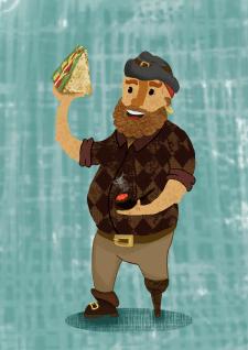 Иллюстрация для фирмовой упаковки сэндвичей