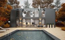 Дом в современном стиле в осеннем пейзаже