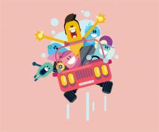 Иллюстрация Cartoon car and friends