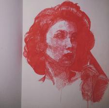 Портрет персонажа шариковой ручкой