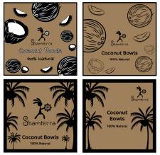 Дизайн для коробки тарелок из кокосов