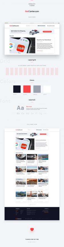 Дизайн страницы блога для GetCarrier