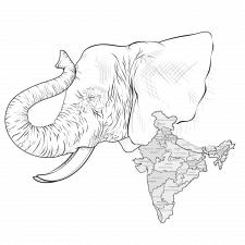 Слон + карта Индии.