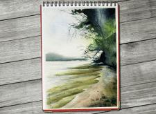 summer river beach, watercolor landscape