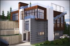 Эскизный проект жилого дома на холмистой местности