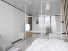 Визуализация гостинной - спальни (вид 3)
