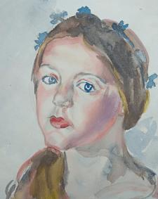 портрет акварель.