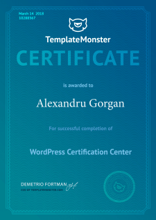 Сертификат от TemplateMonster по WordPress