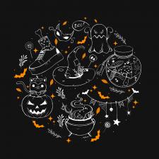 Collection of Halloween symbols_line art